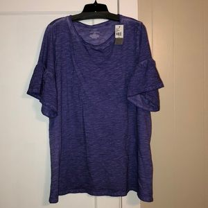 Purple tee with ruffle sleeves
